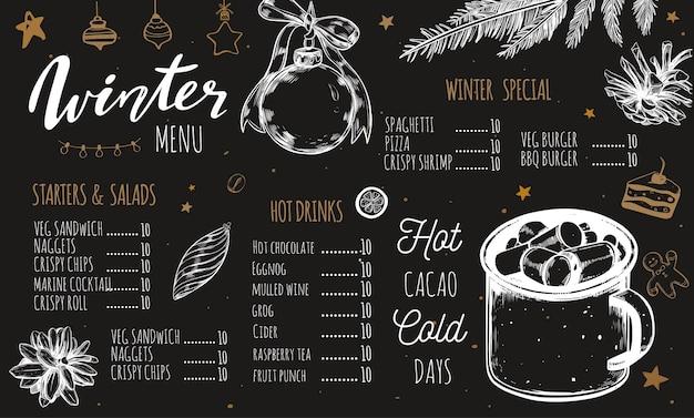 Winter special seasonal menu on chalkboard