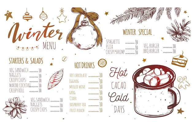 Winter special seasonal  menu template, with christmas and new year hand drawn