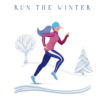 Winter speed running banner with woman training