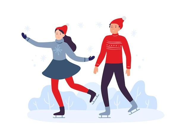 겨울 스포츠 활동입니다. 따뜻한 옷을 입고 함께 스키를 타는 친구들. 어린 소녀와 소년은 아이스링크나 얼어붙은 호수에서 활발하게 여가 시간을 보내고 있습니다. 행복 한 커플 벡터 일러스트 레이 션