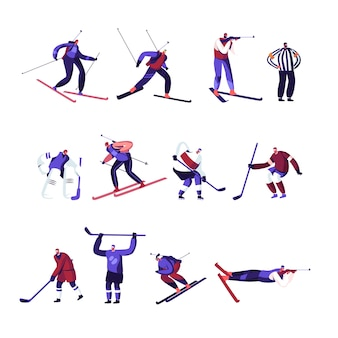 Winter sport activities hockey, freestyle, biathlon competition or training set isolated on white background. cartoon flat illustration