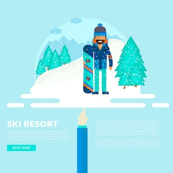 キャラクターとスキー、フラットスタイルのデザインのスノーボードセット機器とウィンタースポーツの背景。スキーリゾートの写真、山の活動、ベクトルイラストの要素。