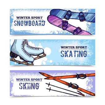 Winter sport banner set