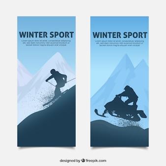 Winter sport banners in blue tones