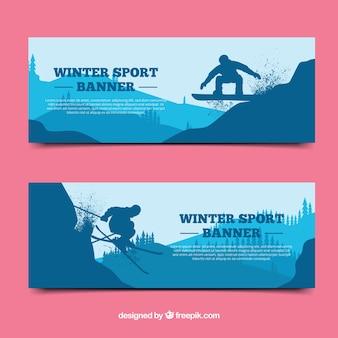 Bandiere degli sport invernali con silhouette blu