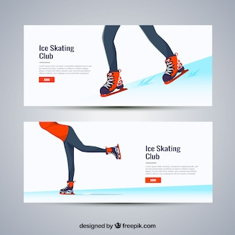 Winter sport banners with female ice skating