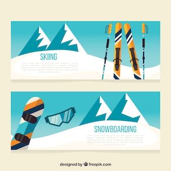 山の風景と冬のスポーツバナー