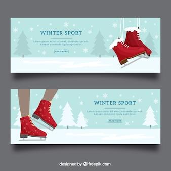 Зимние спортивные баннеры с красными коньками