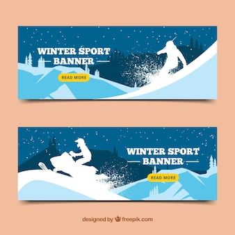 Winter sport banners with silhouette of snowboarder and scooter