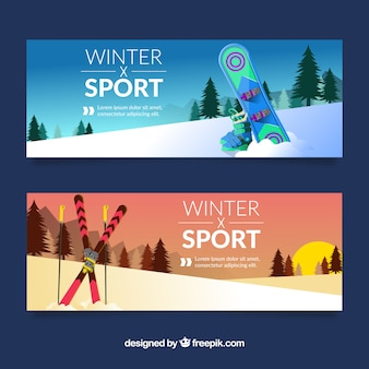 Winter sport banners with snowboard and sunset