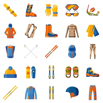 冬のスポーツコレクション。道具、ウェア、靴をセットします。スキーとスノーボード。