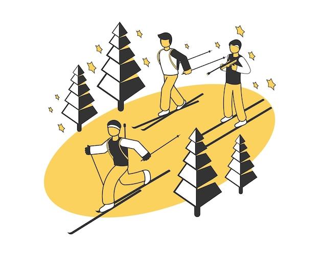 3人のスキー選手とのウィンタースポーツ競技の等角投影図