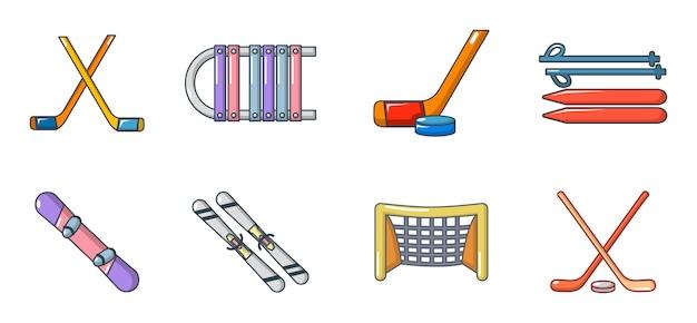 Комплект значка оборудования зимнего спорта. мультяшный набор зимнего спортивного оборудования векторные иконки установить изолированные