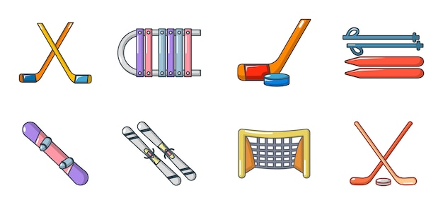 Winter sport equipment icon set. cartoon set of winter sport equipment vector icons set isolated