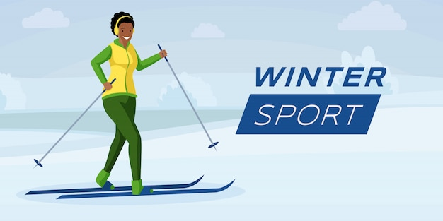 Winter sport flat color banner template