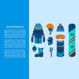 ウィンタースポーツアイコンコレクション。フラットスタイルのデザインで白い背景に分離されたスキーやスノーボードのセット機器。スキーリゾートの写真、山の活動、ベクトルイラストの要素。