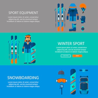 Winter sport icons collection. skiing and snowboarding set equipment isolated on white background in flat style design. elements for ski resort picture, mountain activities, vector illustration.