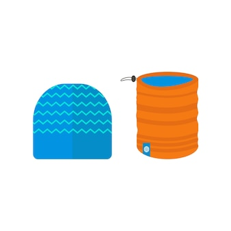 Winter sport icons collection with scarf and hat