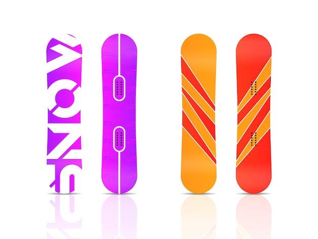 Зимние спортивные символы сноуборда. набор различных сноубордов готов для вашего дизайна, изолированные на белом фоне. элементы для изображения горнолыжного курорта, горных мероприятий.