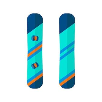 スノーボードのウィンタースポーツアイコン。フラットスタイルのデザインで白い背景に分離されたスキーやスノーボードのセット機器。スキーリゾートの写真、山の活動、ベクトルイラストの要素。