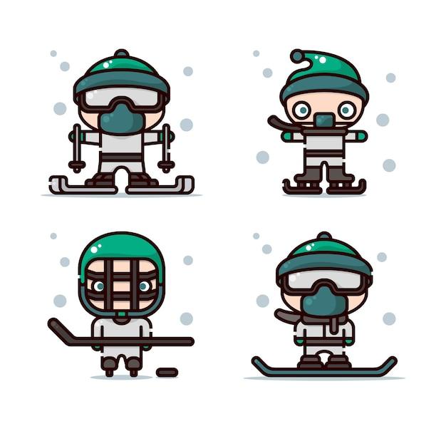 Иллюстрация зимних видов спорта, включая лыжи, катание на коньках, хоккей и сноуборд.