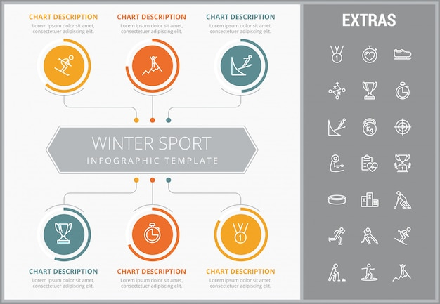 Winter sport infographic template, elements, icons