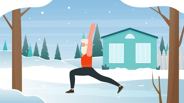Зимний спорт на свежем воздухе с мультяшным санта-клаусом