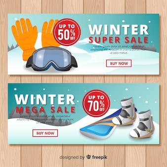 Winter sport sale banner template