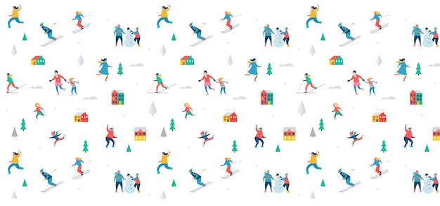 ウィンタースポーツシーン、クリスマスフェスティバル、フェア、子供連れの家族が楽しく