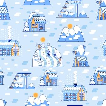 冬のスポーツのシームレスパターン
