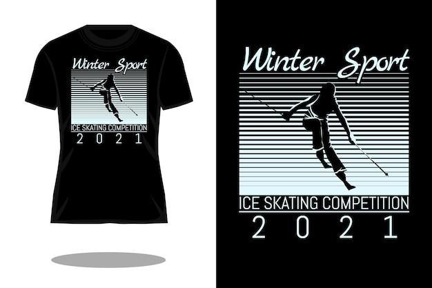 ウィンタースポーツシルエットヴィンテージtシャツデザイン