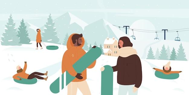ウィンタースポーツスノーボーダーの人々の冬の活動