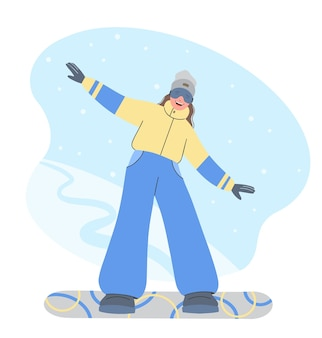 Winter sport, snowboarding - illustration of a young girl snowboarder.