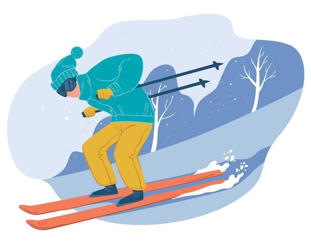 Зимние спортивные увлечения и активный образ жизни в холодное время года. снаряженный персонаж идет под гору, катается на лыжах мужской персонаж. снежный пейзаж леса и вершин гор. вектор в плоском стиле