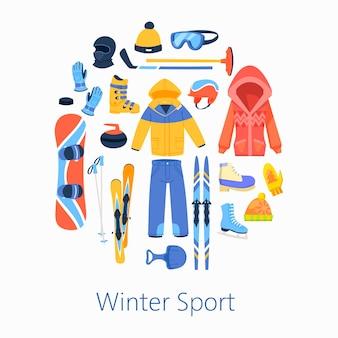 Иллюстрация аксессуаров зимних видов спорта, круглая композиция плакат.