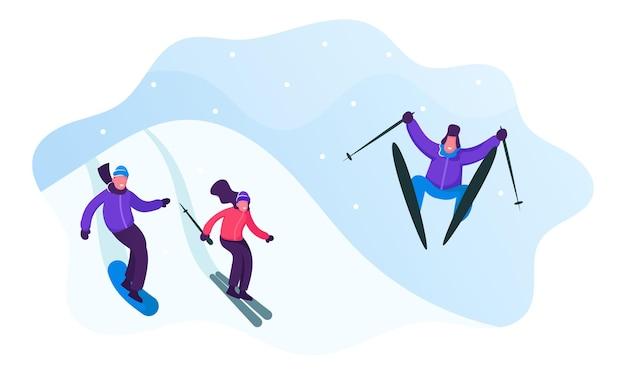 겨울 스포츠 활동 및 여가 시간. 산 리조트에서 젊은 남성과 여성 스키와 스노우 보드. 만화 평면 그림