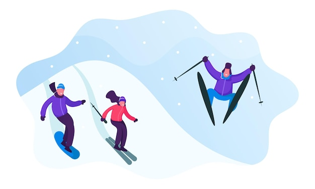 Winter sports activity and spare time. young men and women skiing and snowboarding in mountains resort. cartoon flat  illustration