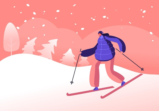Winter sports activity and sparetime. cartoon flat  illustration