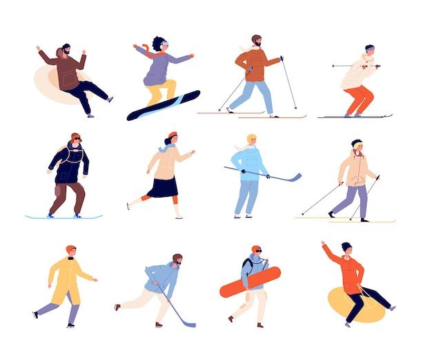 ウィンタースポーツのキャラクター。アクティブなスケート、スキーヤー、スノーボードの人々。孤立した若い女の子の男の子の休日や雪のベクトル図での休暇。冬のキャラクタースノーボーダー、スキー、スケーター