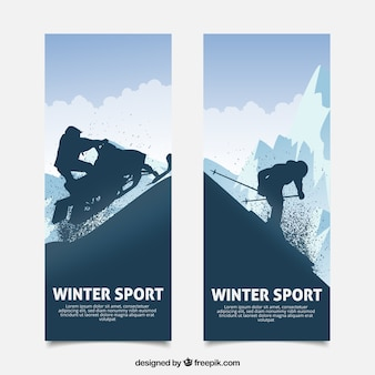 Winter sports concept banners with dark silhouette