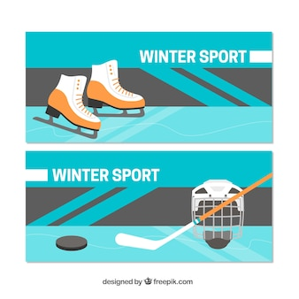 Winter sports concept banners with ice skates and hockey