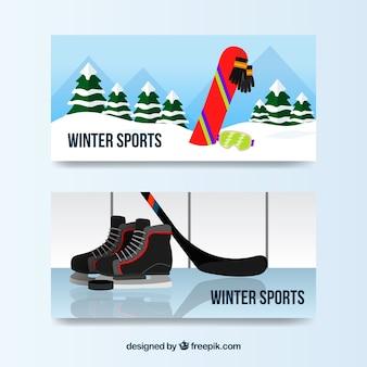 Bandiere di concetto di sport invernali con snowboard e hockey su ghiaccio