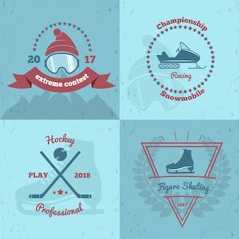 Winter sports emblems 2x2