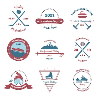 Winter sports emblems set