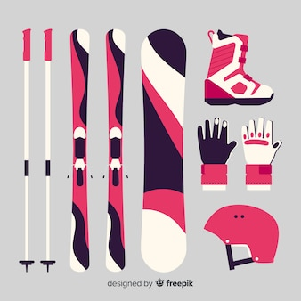 Winter sports equipment background