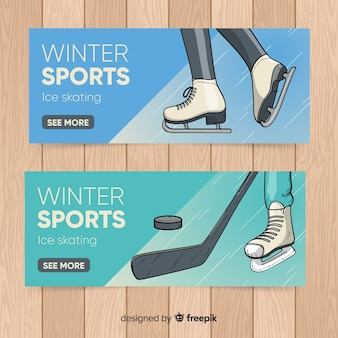 Winter sports hand drawn banner