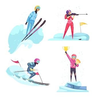 Набор иконок зимних видов спорта с изолированными плоскими символами лыж и биатлона