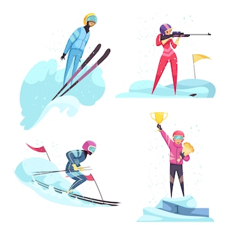 Winter sports  icons set with skiing and biathlon symbols flat isolated
