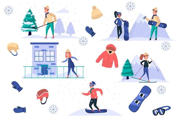 ウィンタースポーツの孤立した要素は、男性と女性のバンドルスケートスキーまたはスノーボードプレイホッケーを設定します