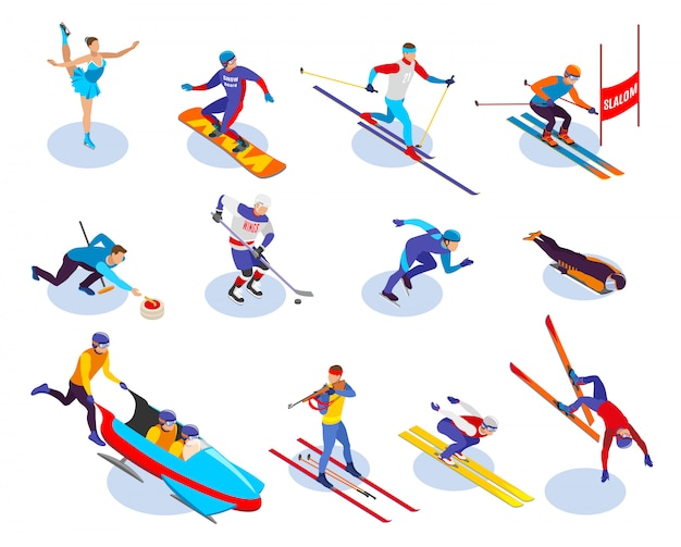 Winter sports isometric icons set of  snowboarding slalom curling freestyle figure skating ice hockey biathlon isometric